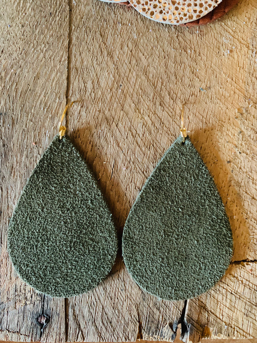Suede Mossy Olive GreenGreen Teardrop Leather Earrings