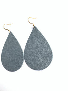Grey Matte Teardrop Leather Earrings