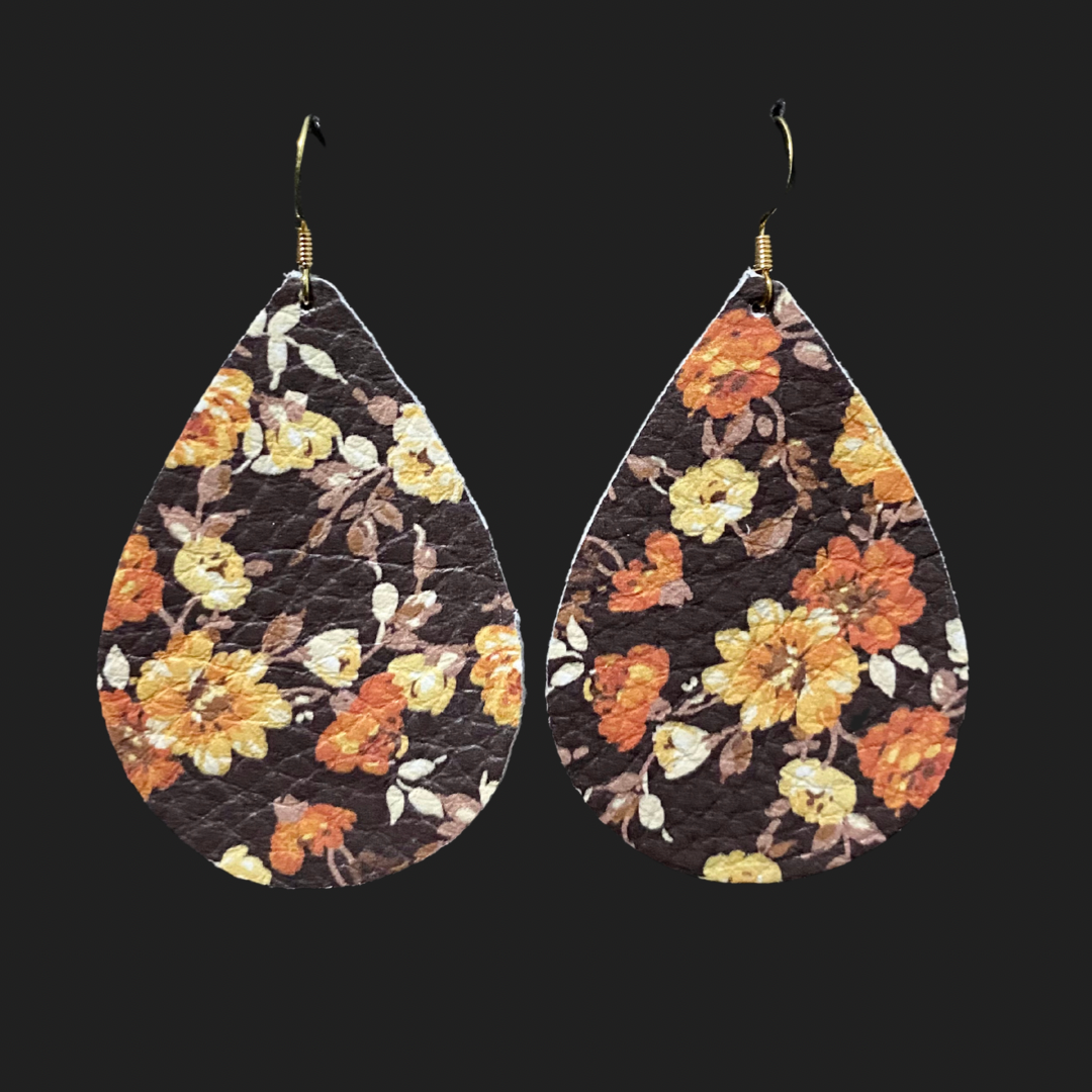 Orange Floral Teardrop Leather Earrings