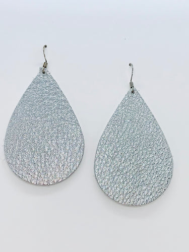 Metallic Silver Teardrop Leather Earrings.