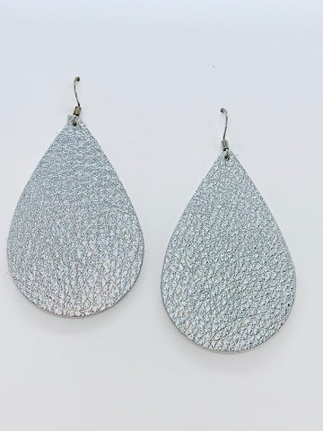 metallic-silver-teardrop-leather-earrings