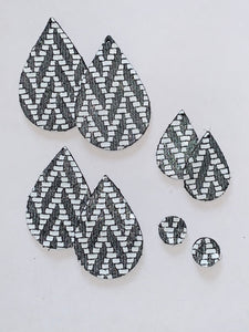 Charcoal and White Zig Zag Teardrop and Stud Leather Earrings