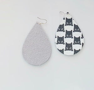 Black and White Kitty (black cat) Pattern Teardrop Leather Earrings