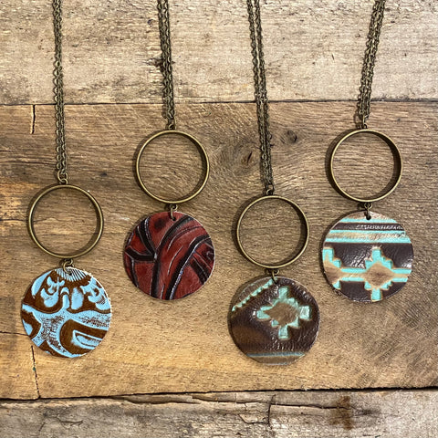 Tooled Double Circle Leather Necklaces