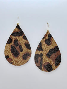 Dark Colored Leopard Teardrop Leather Earrings
