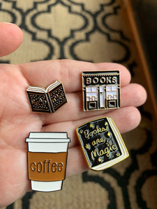 Book and Coffee Addict- Enamel Pins, Book Store, Books are Magic, Read More, Coffee