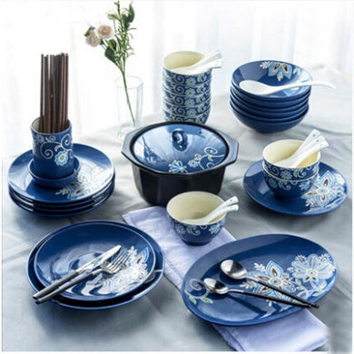 Blue hand made dinnerware set. - Paruse