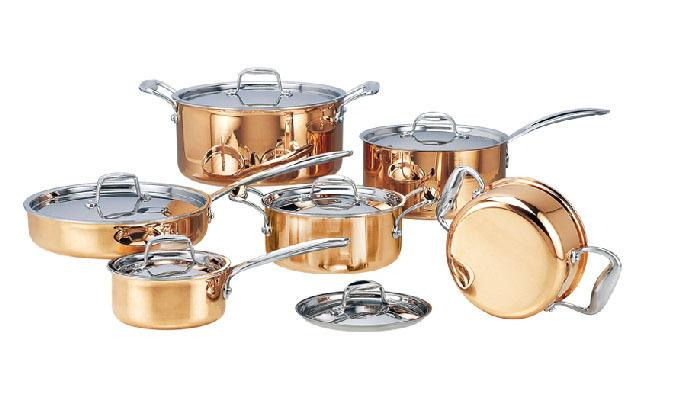 Stainless Steel Copper Cooking Pots With Frying Pan.