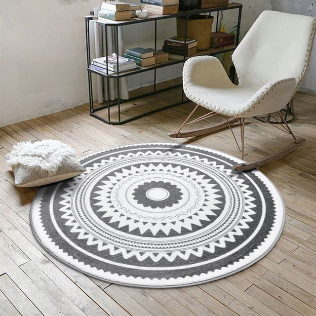 Nordic Gray Series Round Carpets For Living Room - Paruse