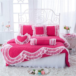 100%Cotton Thick Quilted lace Bedding set. - Paruse