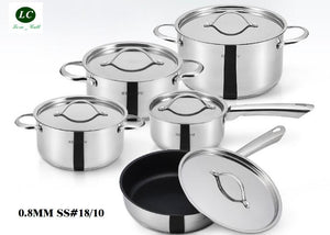 10PCS stainless steel cookware set.