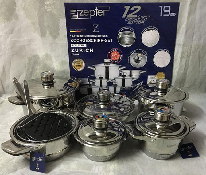 19PCS Of European 18/10  Stainless Steel Cookware.