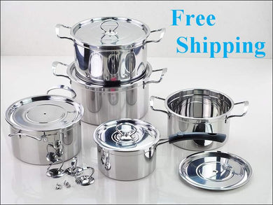 10PC Of 18/10 Stainless Steel Cookware Set.