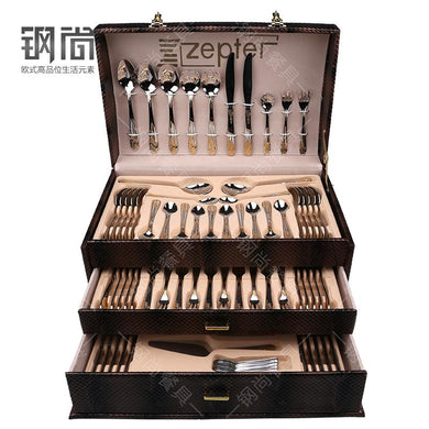 86PCS 18/10 Multifunctional  Luxury Gold Inlay Stainless Steel Cutlery Set. - Paruse