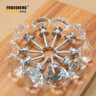 Clear Crystal Glass Cupboard Handles - Paruse