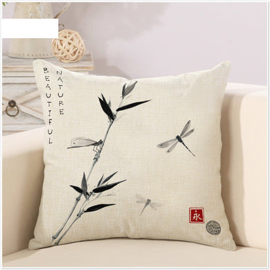 Bamboo Bird Dragonfly Pillow Cover - Paruse