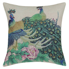 Traditional Flower Birds Painting Peacocks Throw Pillow Cover - Paruse
