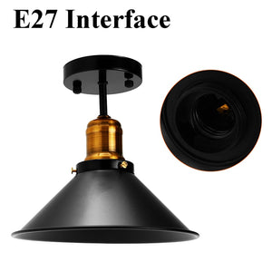 Black E27 Vintage Round Retro Ceiling Light.