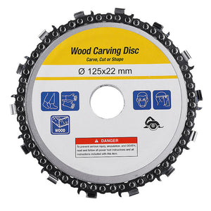 5 Inch Grinder Chain Disc Arbor 14 Teeth Wood Carving Disc for 125mm Angle Grinder