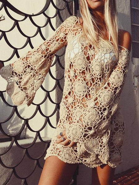 Bohemian Bell Sleeve Crochet Swimsuit Cover-up