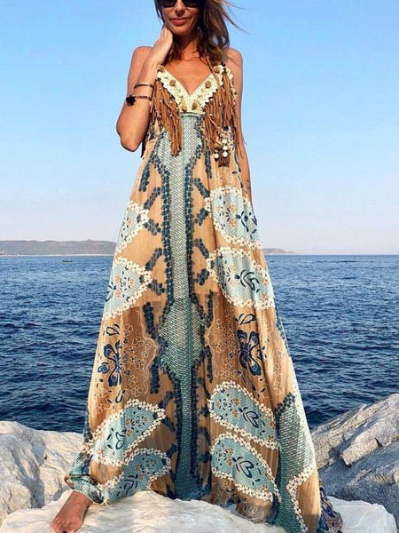 4388f77f38e1f Summer Bohemian Vacation Beach Printed Sling Backless Maxi Dress ...