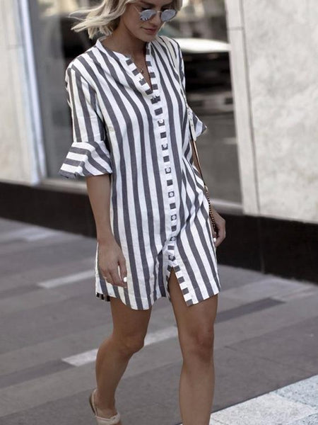 Stripe Stand Collar Casual Shirt Dress