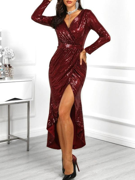 9f3a0ea9e62 Sequins Long Sleeves V-Neck Sexy Split Evening Dress ...