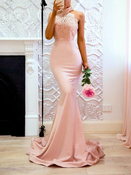 Pink Halter Backless Mermaid Bodycon Evening Maxi Dress