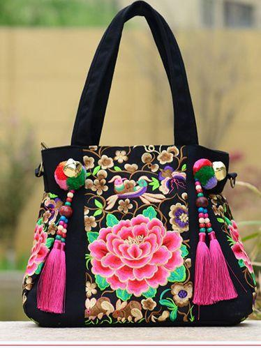 Ethnic Style Embroidery Versatile Canvas Oblique Tassel Shoulder Bag
