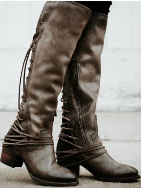 Women Chunky Tassels Bandage Knee High Boots