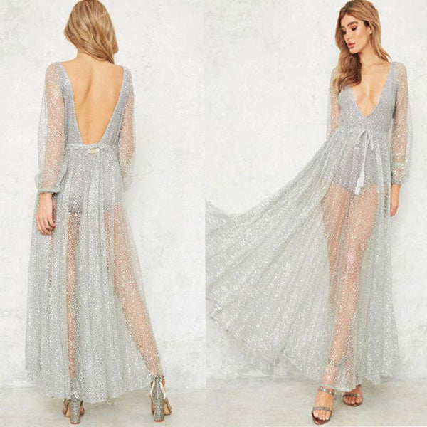 2c53058d ... Sexy Deep V Sequin Perspective Long Sleeve Holiday Dress