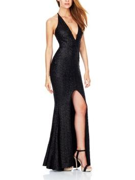c307c831b4b ... Deep-V Split Back Halter Sling Sexy Nightclub Sequins Dresses