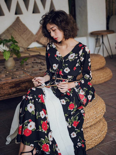 5d198f09b1f ... Floral Print Flare Sleeve Crop Top High Waist Maxi Skirt Two Pieces Set