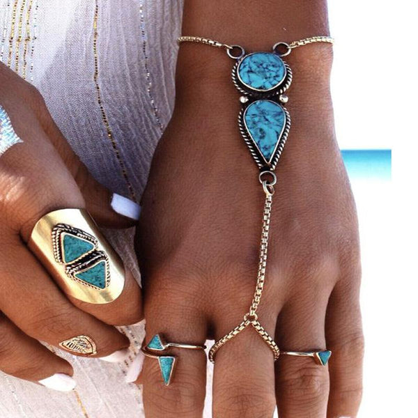 2d69249d31c8 Bohemian jewelry beach simple ethnic turquoise chain bracelet jewelry ...