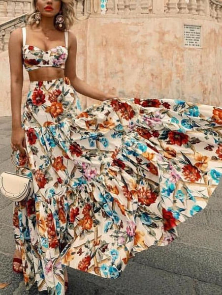 5b932e1eda2 Sexy Off Shoulder Midriff-Baring Floral Printed Top Skirt Set ...