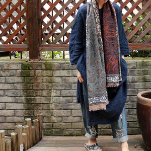 f4d0d5ed73135 Vintage Pattern Comfortable Cotton Ethnic Style Big Scarf Shawl ...