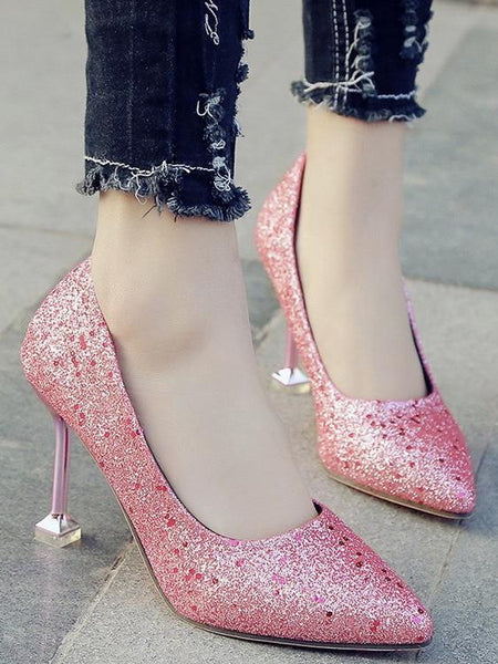 c7f86411c1b2 Fashion Sequins Pointed Stiletto Shoes Pink Princess High Heel Temperament Banquet  Shoes ...