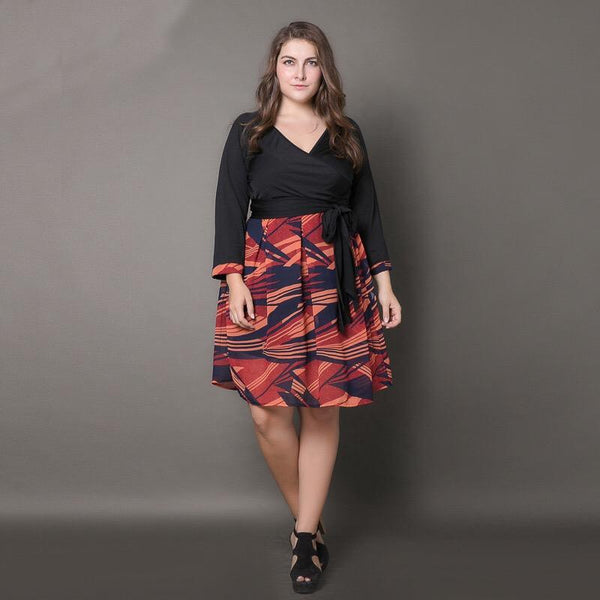 ad1050411a1 ... Large size women s new dress printed V-neck pleated pleated skirt