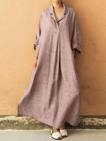 4e8b19fd467 Plus Size Three Colors Ramie Cotton Lapel Linen Loose Long Dress ...