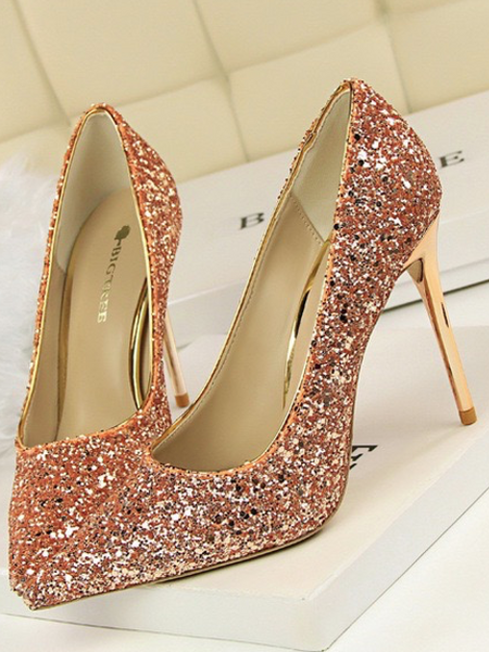 b5ea7119e799 ... High Heel Shallow Mouth Shiny Sequins Sexy Thin Nightclub High Shoes
