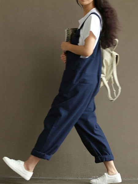 Loose Comfortable Pocket Jumpsuits