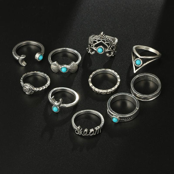 10pcs/Set Vintage Flower Moon Crown Letter Finger Knuckle Rings