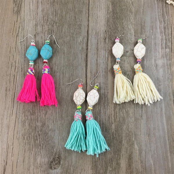Handmade Stone Drop Dangle Tassel Earring