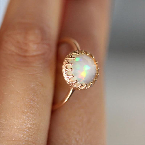 Rainbow Round Couple Gold Color Rings Jewelry