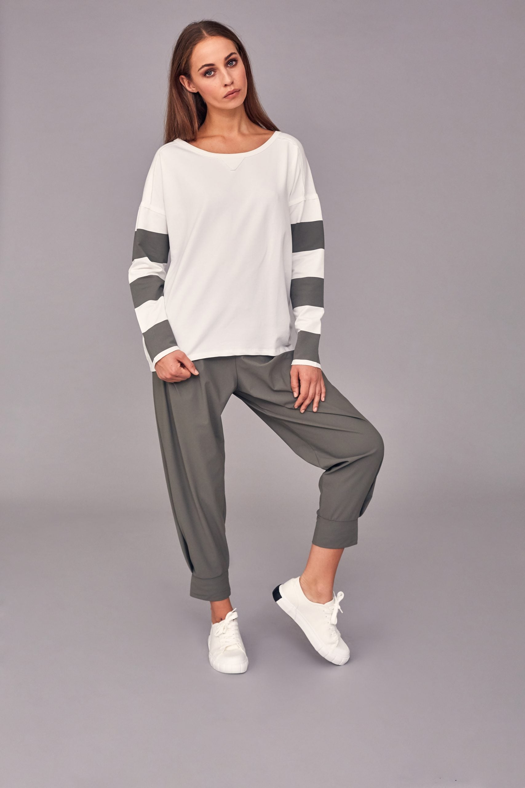 Sweatshirt Top with Stripe Sleeve-Top-Jenny's Boutique
