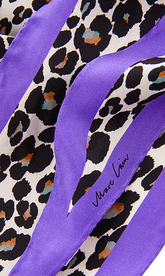 Animal Print Scarf with Purple Trim - Jenny's Boutique