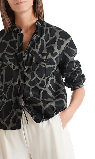 Linen Bomber in Rhino Print-Jacket-Jenny's Boutique