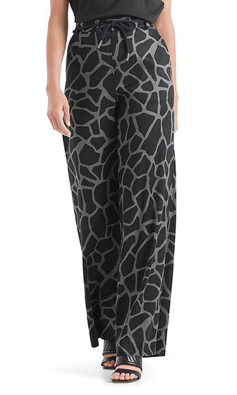 Linen Blend Pants with Giraffe Print-Trousers-Jenny's Boutique