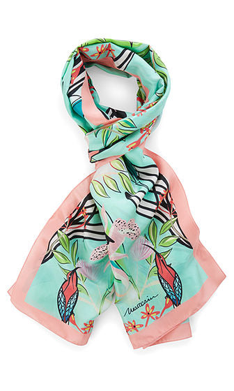 Long Silk Scarf with Pink Trim-Scarf-Jenny's Boutique