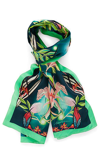 Long Silk Scarf with Green Trim-Scarf-Jenny's Boutique